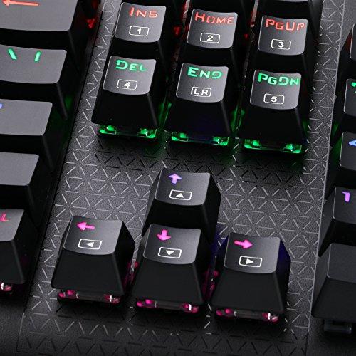 2e0b38967ad E-Element K-9999 Mechanical Gaming Keyboard, Multicolor LED Backlit USB  Wired with Blue Switches,104 Keys No Conflict, Black