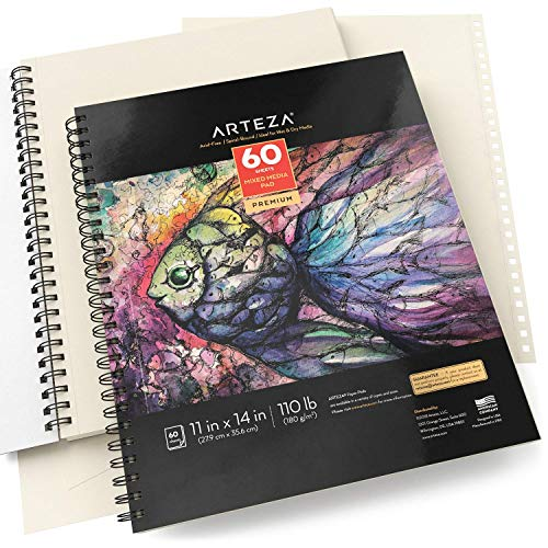 "ARTEZA 11x14"" Mixed Media Sketch Book, 2 Pack, 110lb/180gsm, 120 Sheets (Acid-Free, Micro-Perforated), Spiral-Bound Pad, Ideal for Wet and Dry Media, Sketching, Drawing, and Painting by ARTEZA (Image #2)"