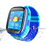 Jslai Kids Smart Watch Phone,Waterproof GPS Tracker Smartwatch for Boys Girls with SOS Call Flashlight Camera Touch Screen Game Smart Watch for Childrens Gift Compatible for iOS and Android