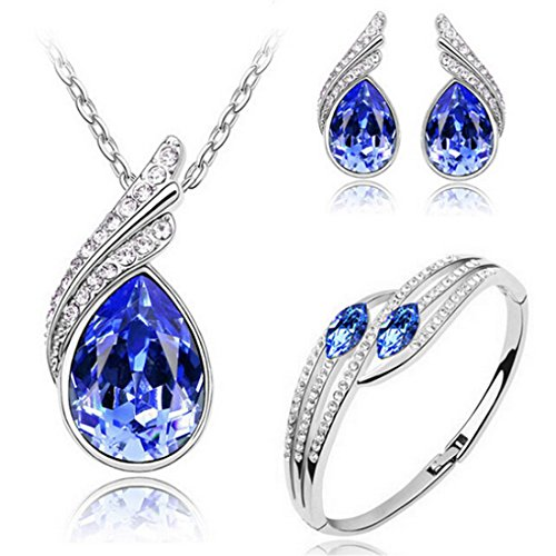 MAFMO Bridal Water Drop Jewelry Set Crystal Pendant Necklace Bracelet Stud Earrings (Royal Blue) (Royal Set Blue Necklace)
