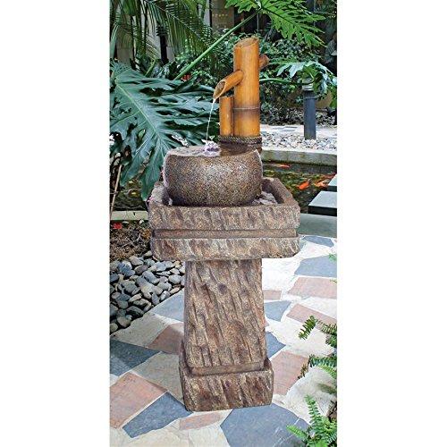 Asian Decor Water Fountain with LED Light - Wellspring Pedestal Bamboo Fountain - Outdoor Water - Pedestal Art Medium