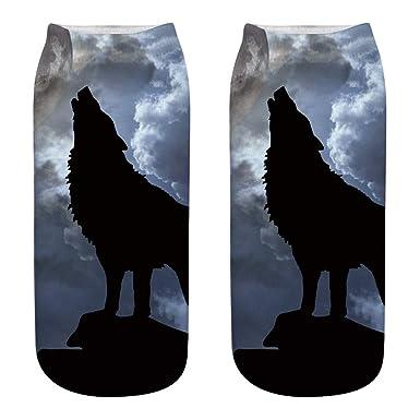 Kinlene Calcetines de algodón de trabajo de negocios de estilo lobo 3D Calcetines deportivos medianos con estampado de cabeza de lobo: Amazon.es: Ropa y ...