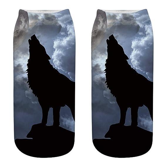 Kinlene Calcetines de algodón de trabajo de negocios de estilo lobo 3D Calcetines deportivos medianos con