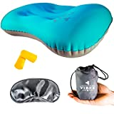 Inflatable Pillow By OUTDOOR Vibez: Comfortable Compressible Pillow For Camping, Backpacking & Hiking – Compact Travel Pillow for Neck & Lumber Support – Storage Bag, Ear Plugs & Eye Mask Included