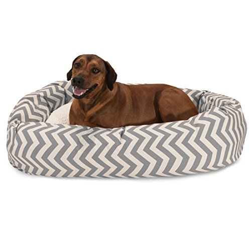 Bed Bagel 52 (52 inch Grey Chevron Sherpa Bagel Dog Bed)