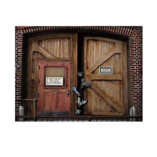 Zombie Decor Photography Background,Monsters Behind Wooden Door Demon Halloween Fear Fantasy Picture Decorative Backdrop for Studio,10x10ft -