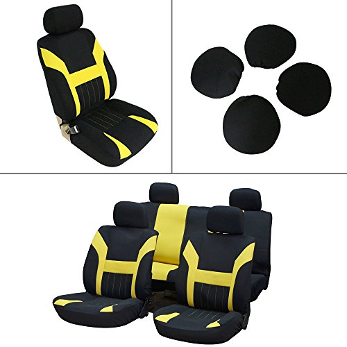 - Seat Cover cciyu Universal Car Seat Cushion w/Headrest - 100% Breathable Washable Automotive Seat Covers Replacement for Most Cars Trucks Vans (Yellow on Black)