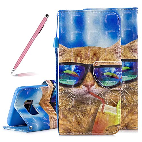 3D Creative Colorful Spectacle Cat Art Painted Effect Design Soft PU Leather Case for Samsung Galaxy S8 Plus,SKYXD Luxury Shiny Flip Folio Wallet Magnetic Closure with Detachable Wrist ()