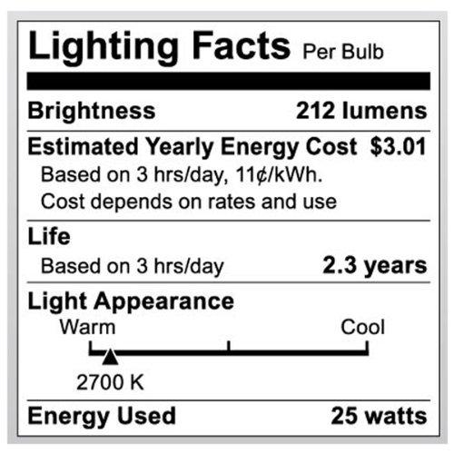 Clear Satco S3651 120V Medium Base 25-Watt G30 Light Bulb