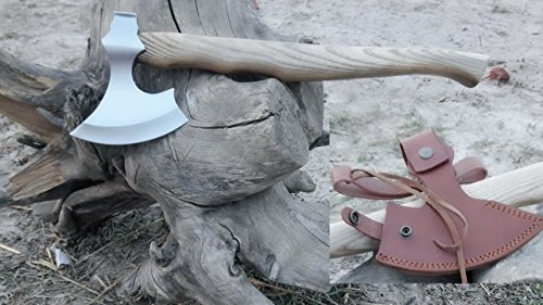MDM CUSTOM HAND MADE TOMAHAWK VIKING HATCHET BEARED WITH ASH WOOD HANDLE - RAZOR SHARP by MDM