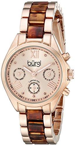 Burgi Women's BUR130RGBR Diamond Accented Rose Gold & Tortoise Resin Multifunction Bracelet ()