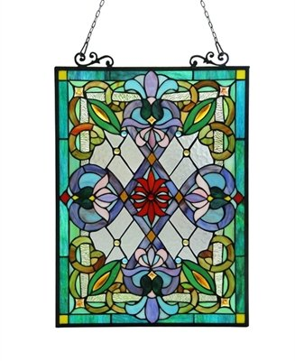 IZZY Tiffany-glass Victorian Window Panel 18x25