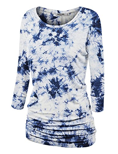 Lock and Love WT1059 Womens Round Neck 3/4 Sleeve Tie Dye Drape Top with Side Shirring S White_Navy
