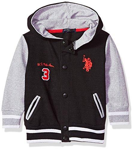 U.S. Polo Assn. Toddler Boys' Hooded Zip or Snap Fleece Jacket, Track Black, 3T (Track Jacket Hooded)