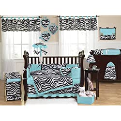 Sweet Jojo Designs Turquoise Blue and Funky Zebra Animal Print Baby Girl Bedding 9pc Crib Set