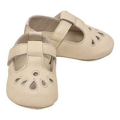 Angel Girls White Teardrop T-Strap Crib Mary Jane Shoes 0 Baby-5 Toddler