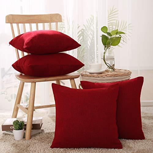 Cuscini Divano Rossi.Deconovo Set Of 4 Textural Faux Linen Hand Made Square Pillow Case