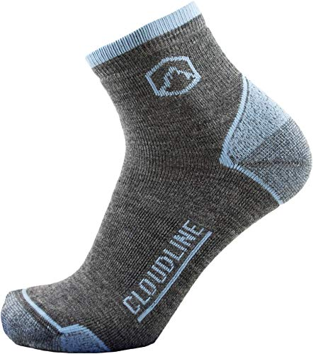 CloudLine Merino Wool 1/4 Top Running & Athletic Socks - Light Cushion - Large Backcountry Blue - Made in the USA