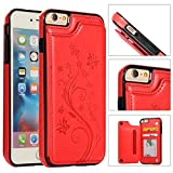 Back Wallet Case for iPhone 6 Plus/6S Plus with Stand,QFFUN Elegant Embossed Design [Butterfly Flower] Lightweight Slim Fit Leather Phone Case with Card Holder Protective Bumper Flip Cover - Red