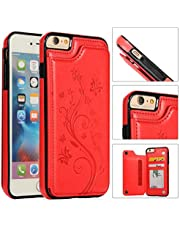 Back Wallet Case for iPhone 6/6S with Stand,QFFUN Elegant Embossed Design [Butterfly Flower] Lightweight Slim Fit Leather Phone Case with Card Holder Protective Bumper Flip Cover - Red