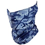 GOT Headband Fishing Mask Camo Headwear - Works as Fishing Sun Mask, Face Shield, Neck Gaiter, Headband, Bandana, Balaclava - Multifunctional Breathable Seamless Microfiber (Dark Blue)