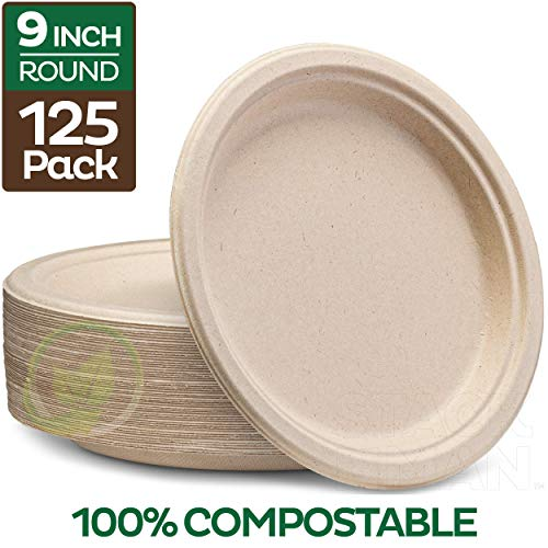 100% Compostable 9 Inch Paper Plates [125-Pack] Heavy-Duty Plate, Natural Disposable Bagasse Plate, Eco-Friendly Made of…