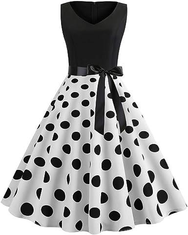LEORTKS Vestido Vintage Mujer Años 50 Negro, Vestidos Retro De V ...