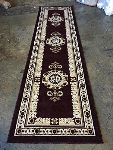 Americana Traditional Long Persian Runner Area Rug Burgundy Design 121 (32 Inch X 10 Feet)