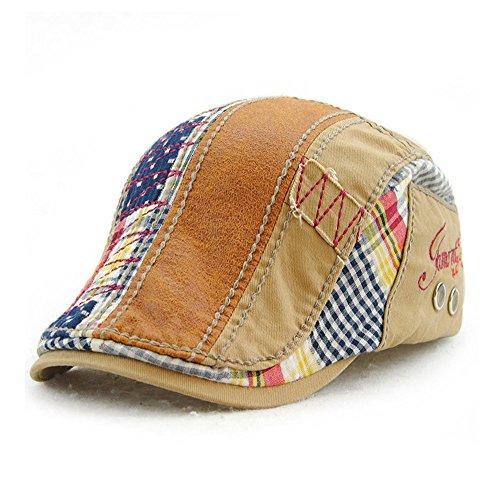 Men Beret Hat Cotton Adjustable Newsboy Hats Cabbie Gatsby Cap,Beige