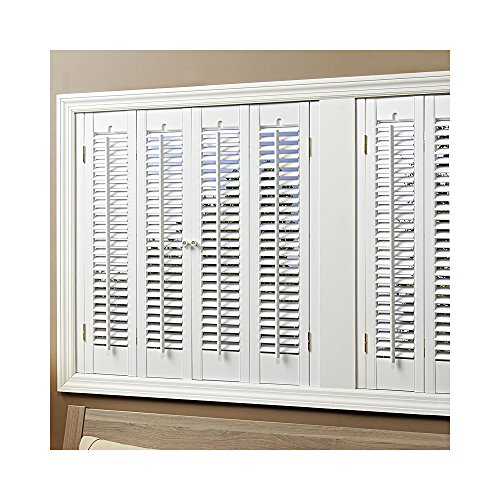 homeBASICS Traditional Faux Wood White 4 Panel Interior Shutter, 35