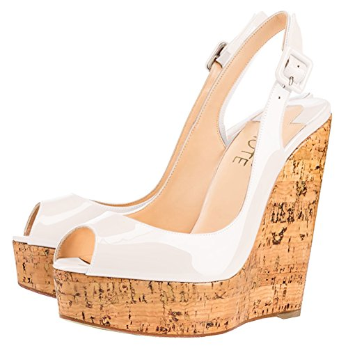 MERUMOTE Women's Wedge Shoes Heeled Sandals High Platform Open Toe Ankle Strap Sandals White 6Lkd2PJT