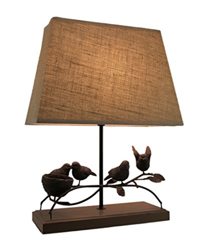 Wood & Metal Table Lamps Rustic Brown Birds Nest Table Lamp With Burlap Shade 13.25 X 17.5 X 7 Inches Brown (Table Bird Lamp Nest)