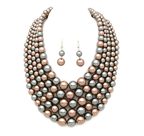 Women's Simulated Faux Pearl Five Multi-Strand Statement Necklace and Earrings Set (Brown+Grey) (Statement Fashion Necklace)