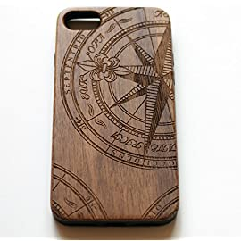 VIVIPOW Wood Phone Case Compatible iPhone 7 Case,Nautical Compass Phone case Compatible iPhone 7 4.7 Inches 9 Unique Design:Pretty patten are carved in natural wood. Comfortable Design: nature wood and a high-quality plastic make for a comfortable and easy grip. Hybrid designed Case:3D TPU structure,Nature walnut wood at the back