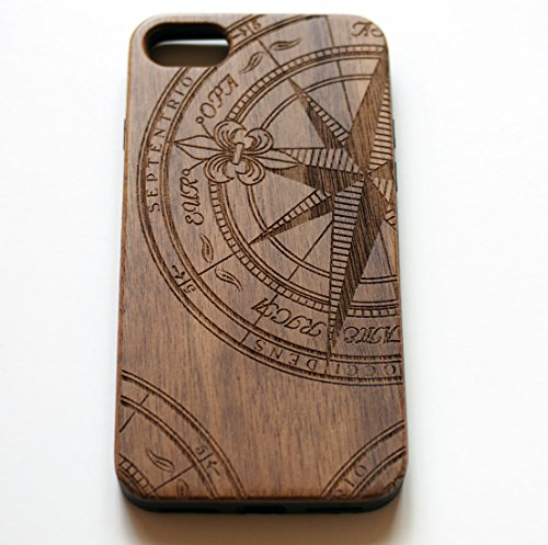 VIVIPOW Wood Phone Case Compatible iPhone 7 Case,Nautical Compass Phone case Compatible iPhone 7 4.7 Inches 1 Unique Design:Pretty patten are carved in natural wood. Comfortable Design: nature wood and a high-quality plastic make for a comfortable and easy grip. Hybrid designed Case:3D TPU structure,Nature walnut wood at the back