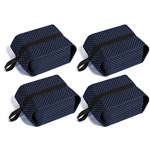 Price comparison product image Mee'life Travel Shoe Bags Set of 4Pcs Oxford Cloth Waterproof Fabric with Zipper Handle For Men Women Kids Storage Shoe Bags Organizer (Blue)