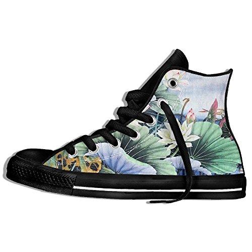 Baskets Montantes Classiques Chaussures De Toile Anti-dérapant Lotus Peinture Casual Marchant Pour Hommes Femmes Noir