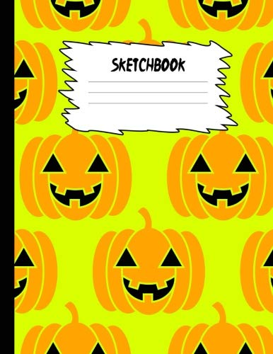 Sketchbook: Halloween Sketch Book for Kids: Burgundy Red Pumpkin Face Large Drawing Paper with 80 Pages (8.5
