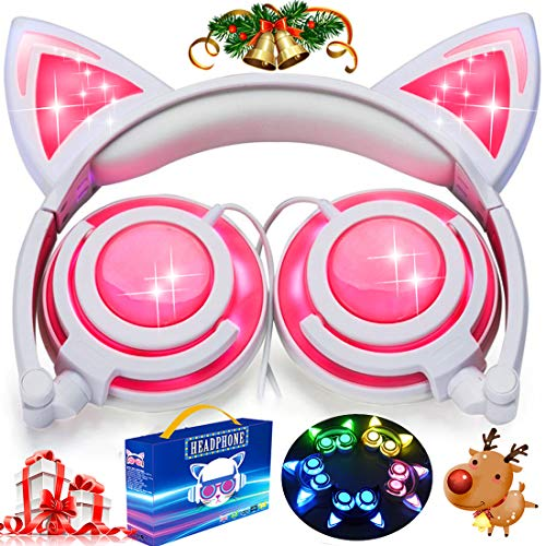 Kids Cat Ear Headphones with Glowing LED Light USB Rechargable 85dB Volume Limited Adjustable Headband 3.5mm Jack Over/On Ear Earphones Foldable Game Headset for Girls Boys Toddlers Back to School]()