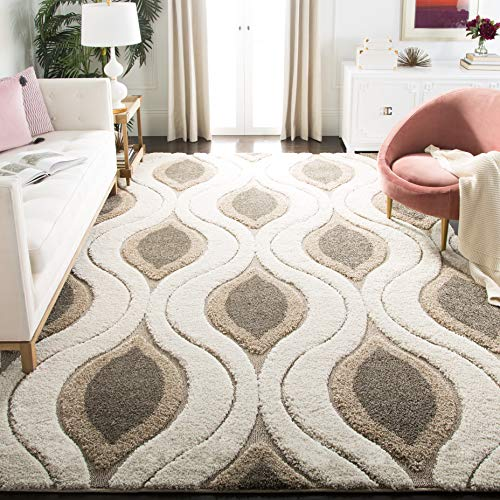Safavieh Florida Shag Collection SG461-1179 Cream and Smoke Area Rug (8