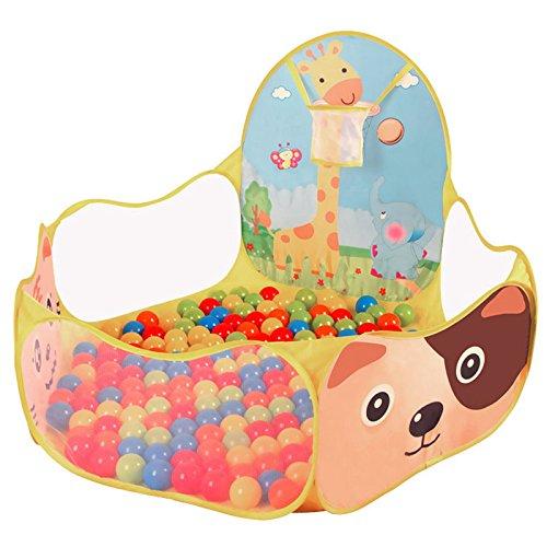 Daorier Piscine à Balles pour Enfants Tente de Jeu Bébé Portable Baby Océan Boule Piscine et Basketball Cerceau 120×120×45cm Thème Animal
