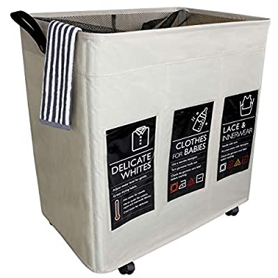 "Any-door Laundry Bag Basket Hamper 3 Section with Wheel Foldable Fabric Durable Dirty Clothes Bag 23.6""x13.8""x21.7"" Large Capacity with 6 Extra Cards for Bathroom,Washing Room,Living Room Dormitory -  - laundry-room, hampers-baskets, entryway-laundry-room - 517WRgjK7QL. SS400  -"