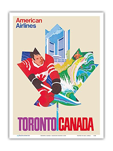 Toronto, Canada - American Airlines - Vintage Airline Travel Poster c.1968 - Master Art Print - 9in x 12in