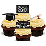Graduation Congratulations Class of 2016 , Edible Cupcake Toppers - Stand-up Wafer Cake Decorations by Made4You