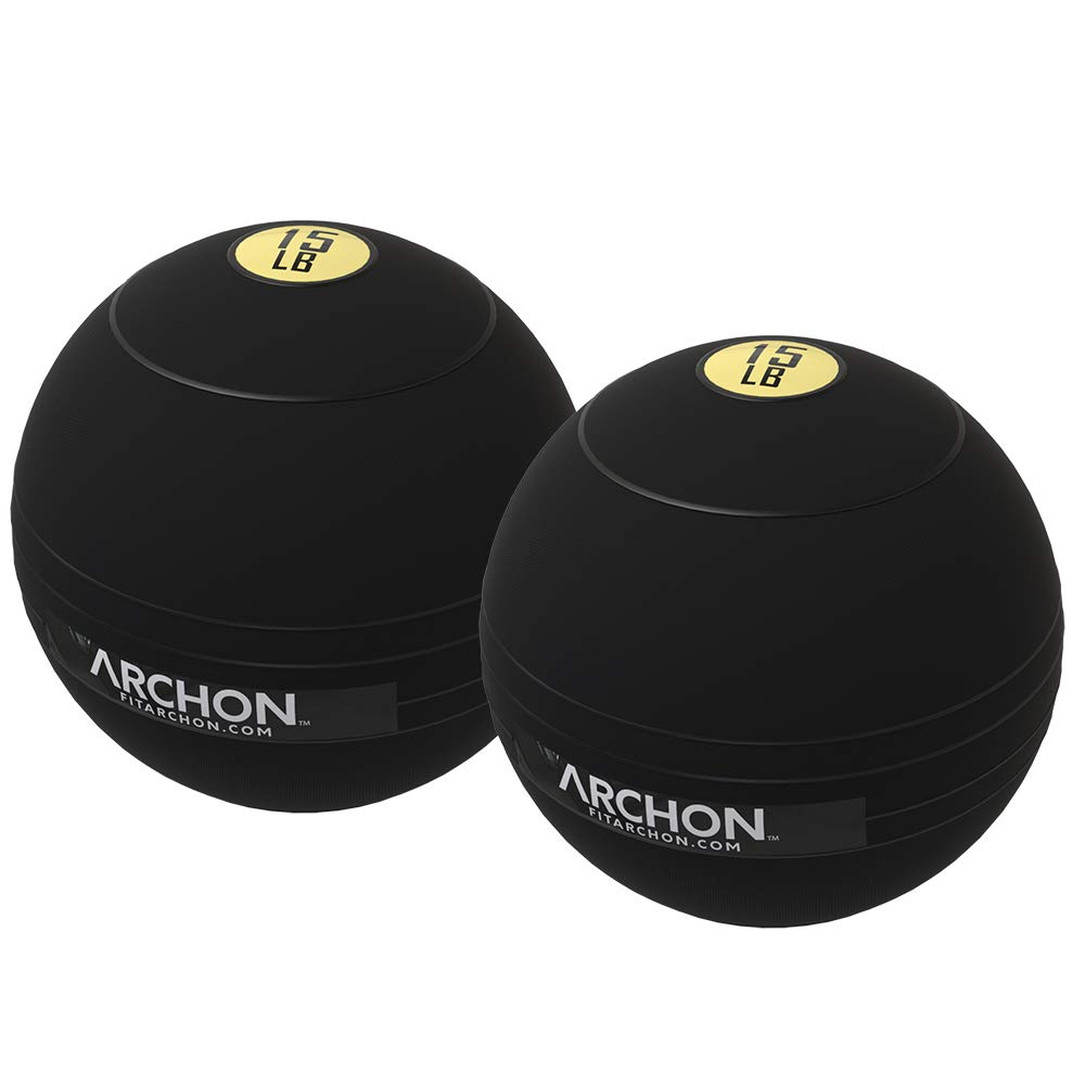ARCHON Training 15 LB and 15 LB Pound Slam Ball Set | Crossfit Workout | No Bounce Exercise Ball | Gym Equipment Accessories | Plyometric Exercise | Cardio | Jam Ball | Squats | Medicine Ball