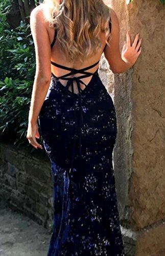Cromoncent Femmes Sexy Profonde Sangle Spaghetti Paillettes V Soirée Bal Dos Nu Bleu Marine Robe Longue