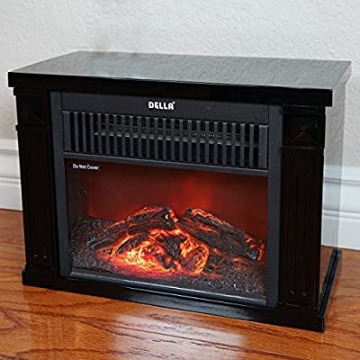 Della 1200 Watt Hearth Portable Electric Fireplace Log Flame Mini Desk Tabletop, Black