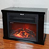 Della 1200 Watt Hearth Portable Electric Fireplace Log Flame Mini Desk Tabletop, Black Della Infrared Heaters