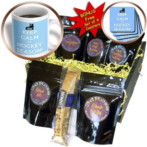 EvaDane - Funny Quotes - Keep calm its hockey season, Blue and White - Coffee Gift Baskets - Coffee Gift Basket (cgb_171923_1)