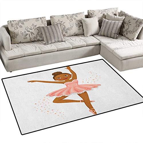 Girls,Carpet,Ballerina Dancing Daughter Classic Performance Hobby Birthday Kids Baby Theme,Rug Kid Carpet,Rose and Brown Size:55